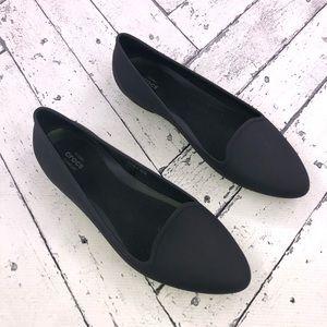 Black Iconic Crocs Comfort Rubber Flats